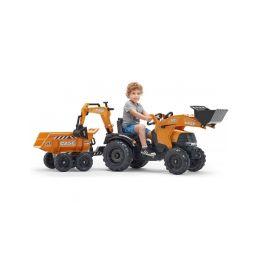 FALK - Šlapací traktor Case IH Beckhoe s nakladačem, rypadlem a vlečkou - 4