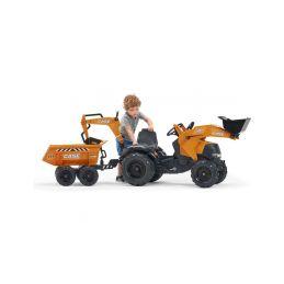 FALK - Šlapací traktor Case IH Beckhoe s nakladačem, rypadlem a vlečkou - 5