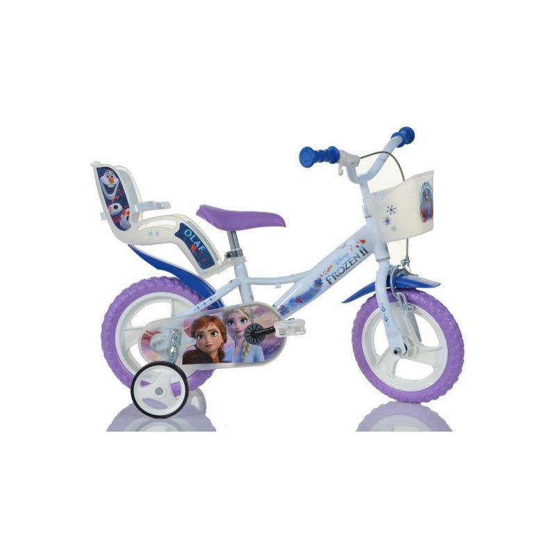 """DINO Bikes - Dětské kolo 12"""" Frozen 2 se sedačkou pro panenku a košíkem - 1"""