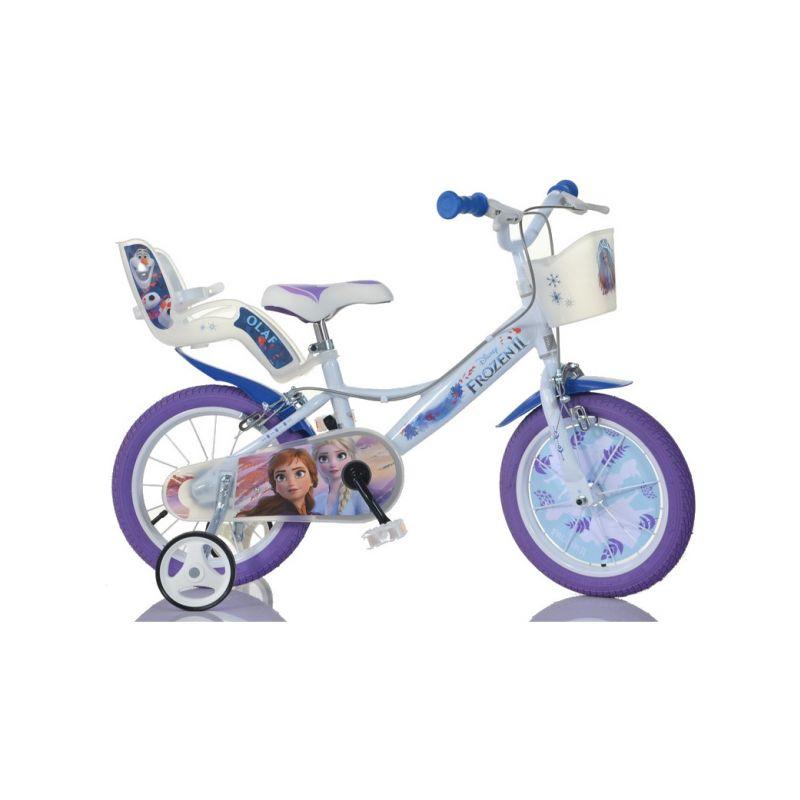 """DINO Bikes - Dětské kolo 14"""" Frozen 2 se sedačkou pro panenku a košíkem - 1"""