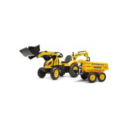 FALK - Šlapací traktor Komatsu s bagrem a Maxi vlečkou - 1