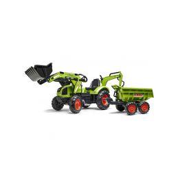 FALK - Šlapací traktor Claas Backhoe s nakladačem, rypadlem a Maxi vlečkou - 1