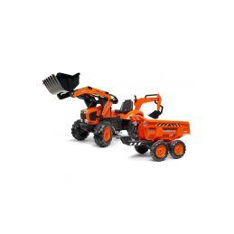 FALK - Šlapací traktor Kubota s nakladačem, rypadlem a Maxi vlečkou - 1
